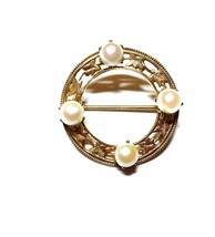 Vintage Gold Tone Circle Pin with Faux Pearls - $15.29