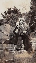 Old Vintage Antique Photograph Two Women In Great Outfits Sitting on Bri... - $6.93