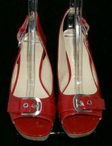 Franco Sarto 'Carnival' red peep toe buckle slingback cork platform wedges 9M image 6
