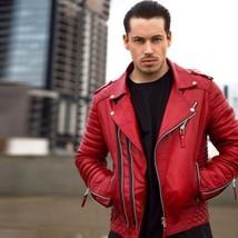 Men Genuine Lambskin Quilted Leather Motorcycle Jacket Slim fit Biker Jacket AB2 - $84.14+