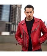 Men Genuine Lambskin Quilted Leather Motorcycle Jacket Slim fit Biker Ja... - $84.14+