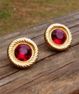 Vintage Red Trifari TM Post Earrings, Circle Stud w Rope Rim Round Acryl... - $135.00