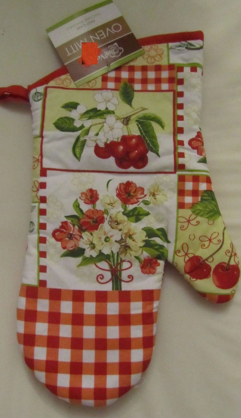 "Primary image for Fabric Printed 13"" Jumbo Oven Mitt, FLOWERS & FRUITS by CV"