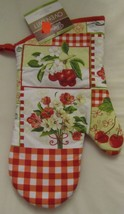"Fabric Printed 13"" Jumbo Oven Mitt, Flowers & Fruits By Cv - $7.91"