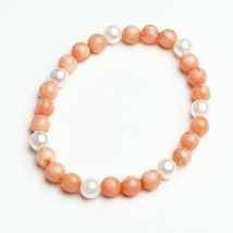 Handmade Beaded Stretch Bracelet Coral Pink Faux Pearl Handcrafted Jewelry Gift - $14.99