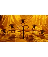 Vintage GOTHIC Black Wrought Iron 5 Cup Candle Holder Metal Candelabra - $10.88
