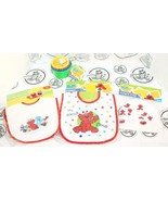 4 LOT - SESAME STREET BEGINNINGS ELMO BIB CAP & STACKING COLOR 4 CUP TOY... - $8.88