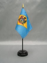 "DELAWARE 4X6"" TABLE TOP FLAG W/ BASE NEW US STATE DESK TOP HANDHELD STIC... - $4.95"