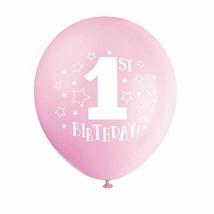 "1st Birthday Pink Girl 8 pk 12"" Balloons Stars Printed - $3.95"