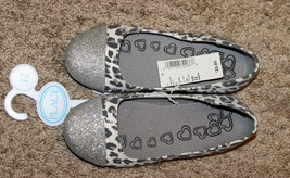 New $23 Children Place Silver Glitter White Gray Animal Shoes Slip On Ballet 12 - $12.99