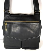 Fossil Vintage Black Leather Multi Pocket Shoulder Bag Brass Tone Hardware - $77.59