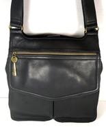 Fossil Vintage Black Leather Multi Pocket Shoulder Bag Brass Tone Hardware - $77.59