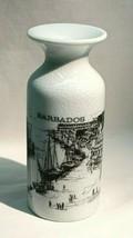VINTAGE BARBADOS ISLAND SOUVENIR PORCELAIN VASE OLD SHIPS PORT DOCKS WES... - $16.20
