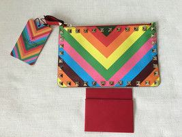VALENTINO ROCKSTUD 1973 Multicolor Rainbow Leather Small Clutch. Handbag. - $891.00