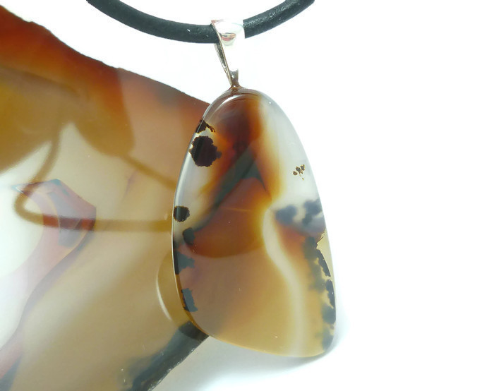 Montana Agate Cabochon Pendant Black Leather Necklace