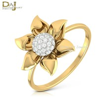 Flower Petal Design Wedding Ring Solid 10k Yellow Gold Diamond Promise R... - £206.26 GBP