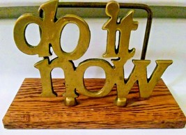 """Vintage Brass Mail Holder """"Do It Now"""" In and Out Motivational Desk Stora... - $22.71"""