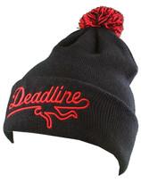 Deadline Black Sports Logo Pom Beanie
