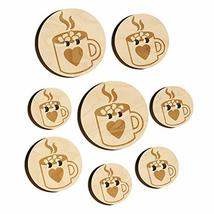 Hot Chocolate with Marshmallows Heart Mug Wood Buttons for Sewing Knitti... - $9.99