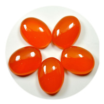 Real Orange Carnelian Total 50 Carat Gemstone Lot 5 Pieces Oval Shape Wh... - $15.25