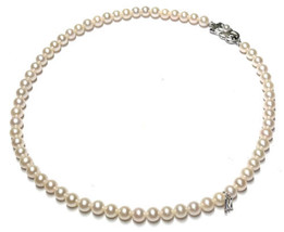 MIKIMOTO Authentic Silver 5.5 to 6mm Akoya Pearl Necklace Used Japan - $1,180.99