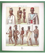 AFRICA Costume of Arabs & Moors Timbuktoo - COLOR Antiqe Print  A. RACINET - $8.10