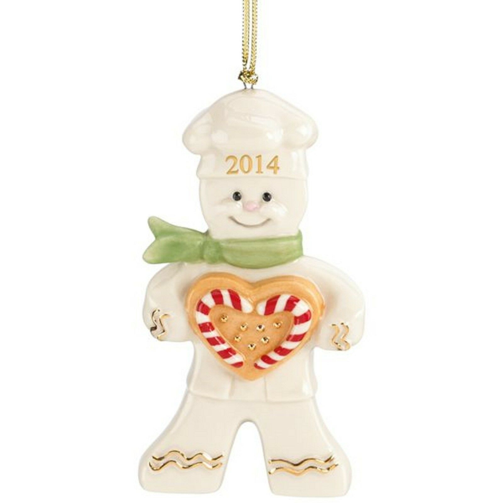 Lenox 2014 Gingerbread Man Ornament Annual Christmas Peppermint Love Baker NEW