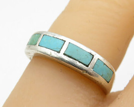POST BELL TRADING 925 Silver - Vintage Inlay 4-Bar Turquoise Ring Sz 6 -... - $38.26