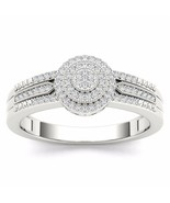 10k White Gold 0.18 Ct Diamond Cluster Halo Engagement Ring - £281.81 GBP