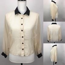 Love Tree Brand Cream Sheer Blouse Top Shirt w Heart Pattern Accents Siz... - $12.19