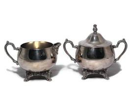 Vintage Oneida Silverplate Creamer and Sugar Bowl Set Lidded - $39.59
