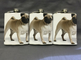 Set of 3 Pug Dog Flasks 8oz Stainless Steel Hip Drinking Whiskey - $21.73