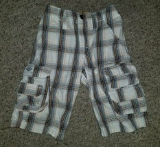 Lee Dungarees Gray Plaid Cargo Shorts Boys Size 6 Adjustable Waist - $3.88