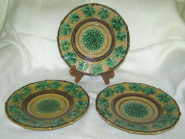 Extremely Rare Early Minton Set Of 3 Majolica Pottery PLATES- Marked 1842 Cypher - $480.15