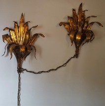 Beautiful Vintage Sculpted Tin Wall Mount Light Fixture - VGC - WORKS - ... - $188.09