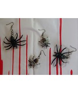 Handcrafted Glitter Spider and Fly Set of 2 Insect Earrings Entomology H... - $9.99