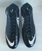 Nike Men Black White Vapor Speed Mid Top Football Cleats 645729 010 Size 15 - $31.45