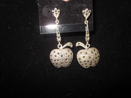 Vintage Silver  Marcasite dangle apple earrings 1980 teacher NY big apple   - $48.00