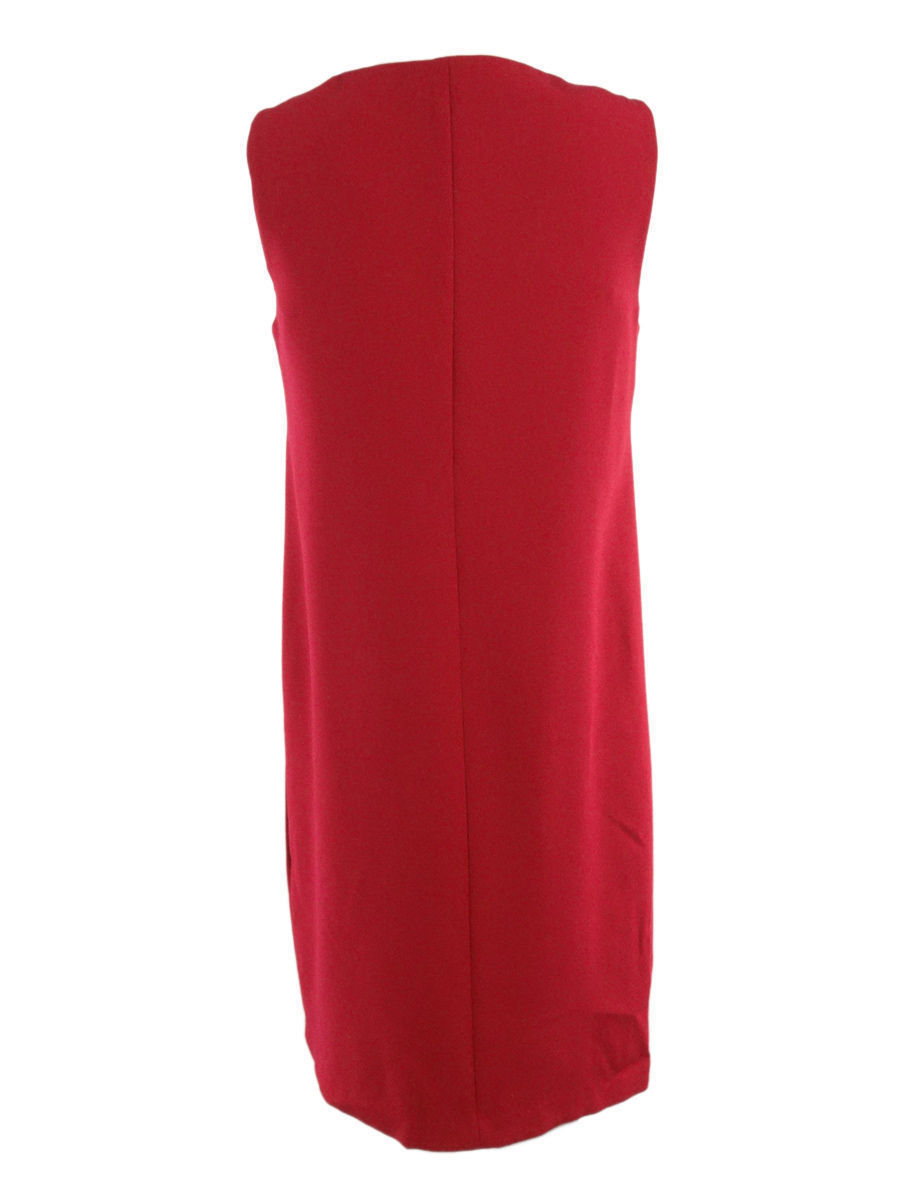 TOMMY HILFIGER Women's Candy Cane Shift Red Dress Buckle Sleeveless Size 6 $99  image 2