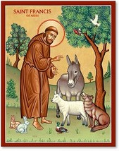 "St. Francis & the Animals Icon - 4.5"" x 6""  Wooden Plaques With Lumina Gold"