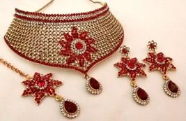 Indian Designer Bridal CZ Maroon Stone Choker Necklace Earrings MaangTikka Set - $34.19