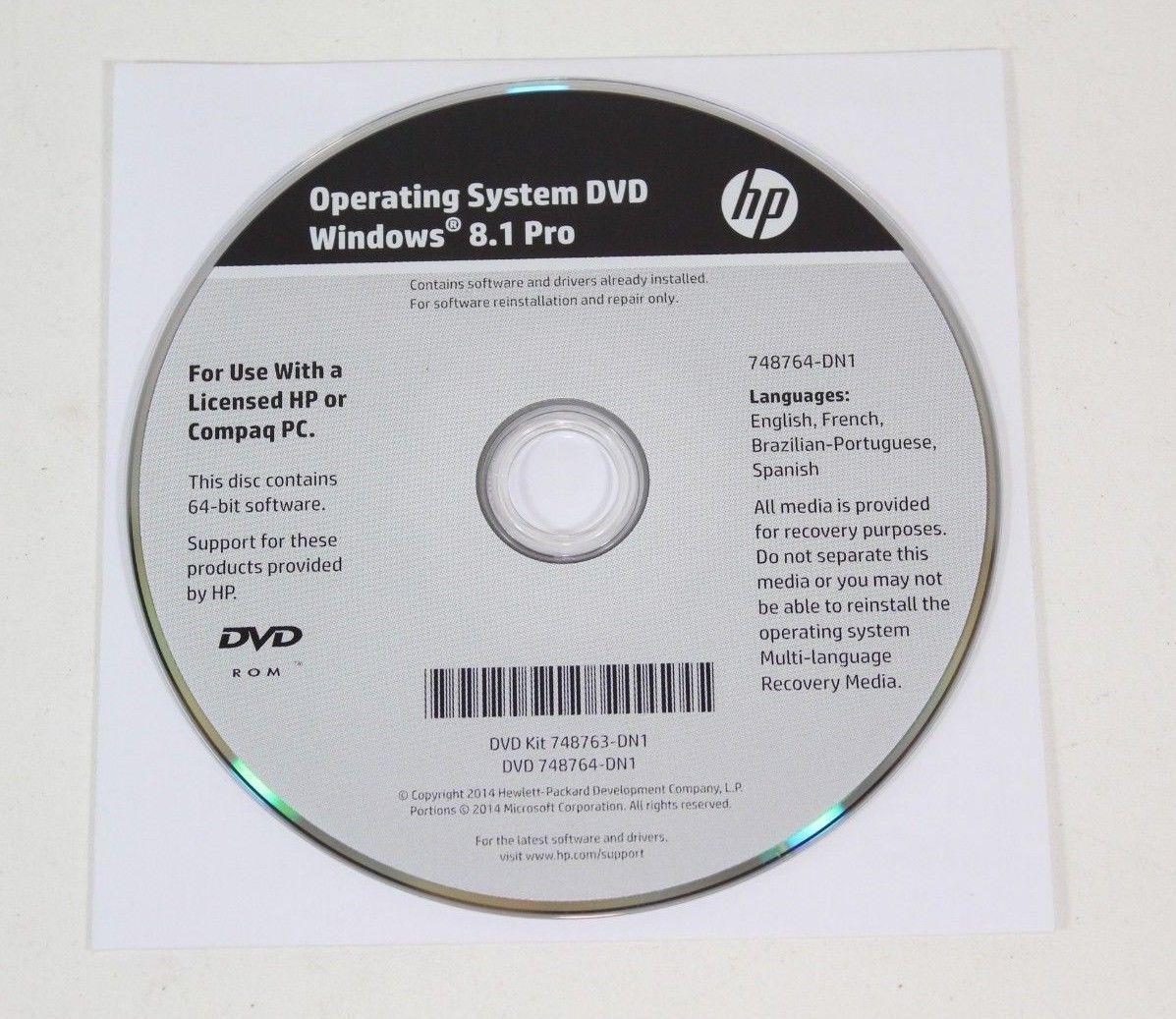 NEW HP Windows 8 1 Pro 64-Bit OS Restore and 50 similar items