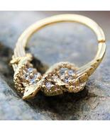 Gold Plated Jeweled Wings and Snake Seamless Ring / Septum Ring - $13.56+