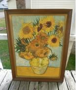 Vincent Van Gogh SUNFLOWERS -24 x 18 Textured Art PRINT Signed - $257.13