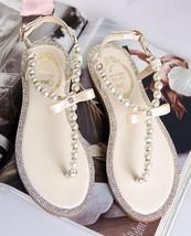 Ivory Women Pearls Beach Bridals Flip Flops,Ivory Ladies  Beach Wedding sandals - $39.99