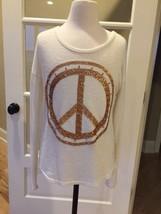 Mudd Top Girls Long Sleeve Shirt Beige Gold Peace Sign Size 14 - £9.96 GBP