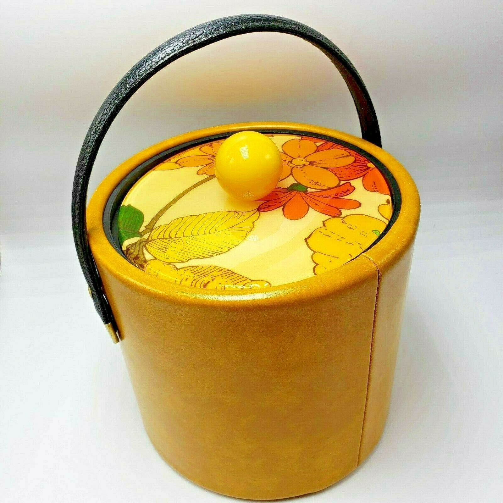 Primary image for Yellow Ice Bucket Flowers Orange Lucite Naugahyde Mustard Nor-Scot Bar Barware