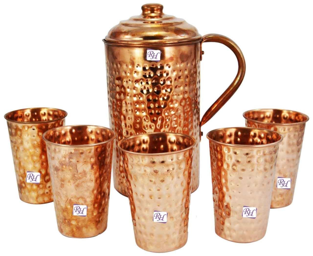 copper Water Pitcher Jug & 5pcs copper glass from Indian Ayurveda