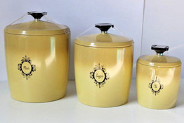 Set of 3 Vintage Kitchen Plastic Canisters Cont... - $36.62