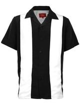 Men's Premium Retro Classic Two Tone Guayabera Bowling Casual Dress Shirt image 3